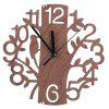 Creative Wooden Home Wall Clock Tree Pattern - BROWN BEAR