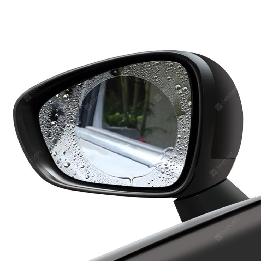 Gocomma Car Rear View Mirror Waterproof Round Film 2pcs - TRANSPARENT M