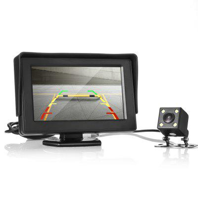 Car 4 LED Lights Reversing Rear View Camera with 4.3 inch Screen Display