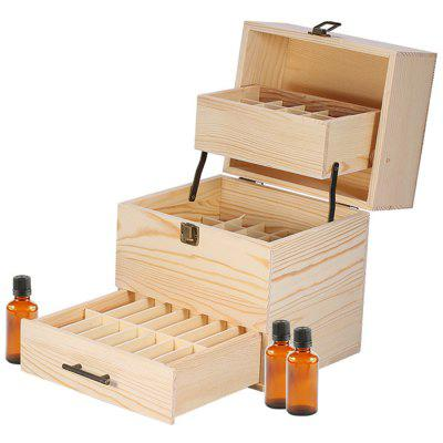 3-tier Large-capacity Wood Grids Essential Oil Storage Box