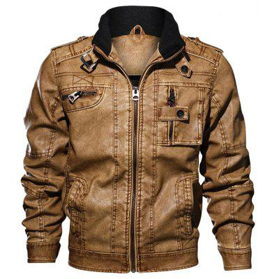 Casual Stand Collar Multi-pockets Jacket for Men