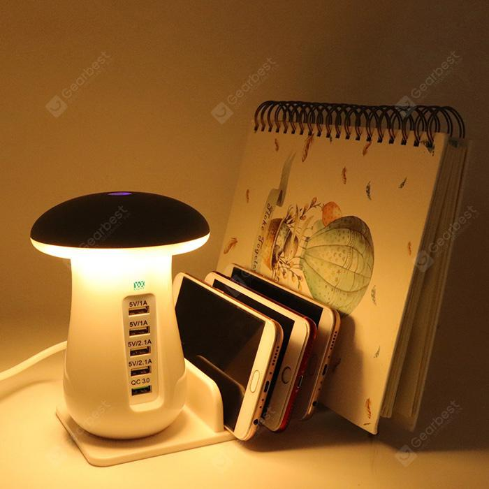 YWXLight 5 Port USB Charging Holder with Stand and Mushroom LED Lamp