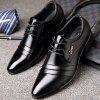 Men Business Formal Pointed Leather Shoes - BLACK