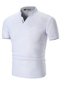 47% OFF Hombres que calculan el estilo de cuello vertical Turn-down Collar  camiseta 1724630c95ec4