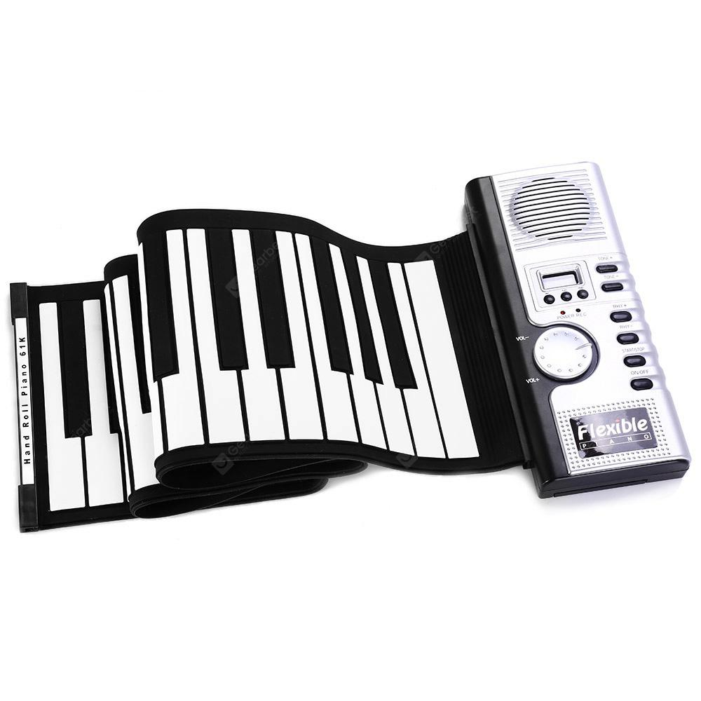 Fleksibel 61 Keys MIDI Digital Roll-Up Keyboard Piano - WHITE