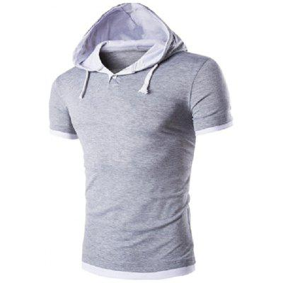 Men Figuring Style Double-color Hooded Turn-down Collar T-shirt