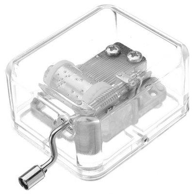 Transparent Mini Hand Crank Music Box for Birthday Gift