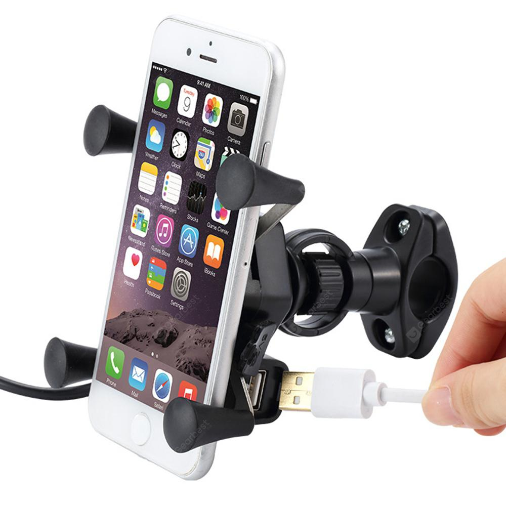 Mobile Phone Holder Rack Navigation Bracket with USB Charging - BLACK