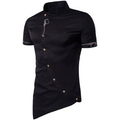 Men Fashionable Figuring Style Vertical Collar Shirt