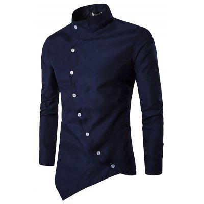 Men Trendy Asymmetric Stand Collar Long Sleeve Shirt