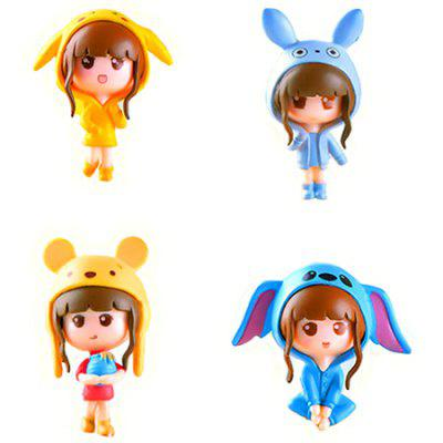 PVC Cartoon Girls Action Figure Collectible Model Doll Toy Home Office Decor 4pcs / Set
