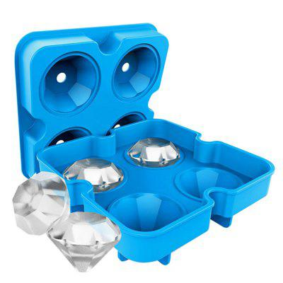 4 Holes Silicone Diamond Shape Ice Cube Tray
