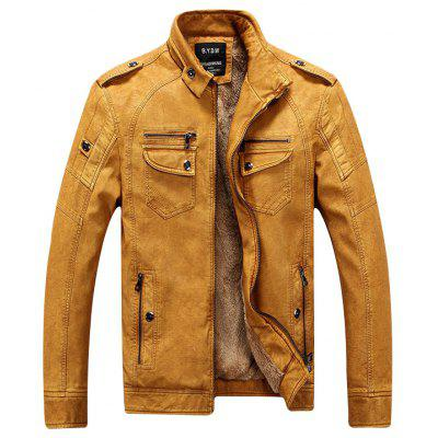 Men Winter Fashionable Stand Collar Short Pile Leather Jacket