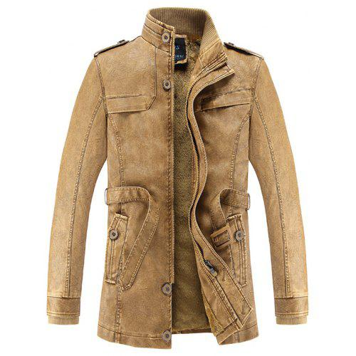 Men Winter Fashionable Stand Collar Long Pile Leather Jacket