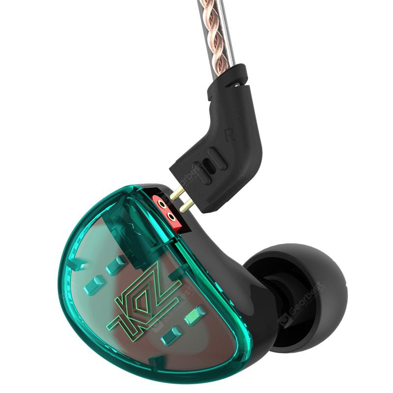 KZ AS10 5BA HiFi Stereo Earphone In-ear Earbuds with 0.75mm 2 Pin Cable - CYAN OR AQUA WITH MIC