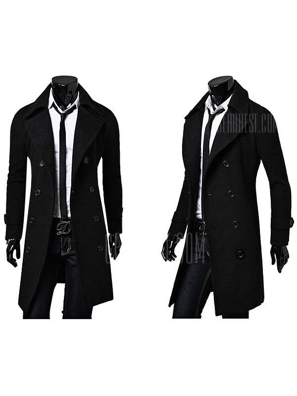 Men's Turn-down Collar Long Woolen Wind Coat