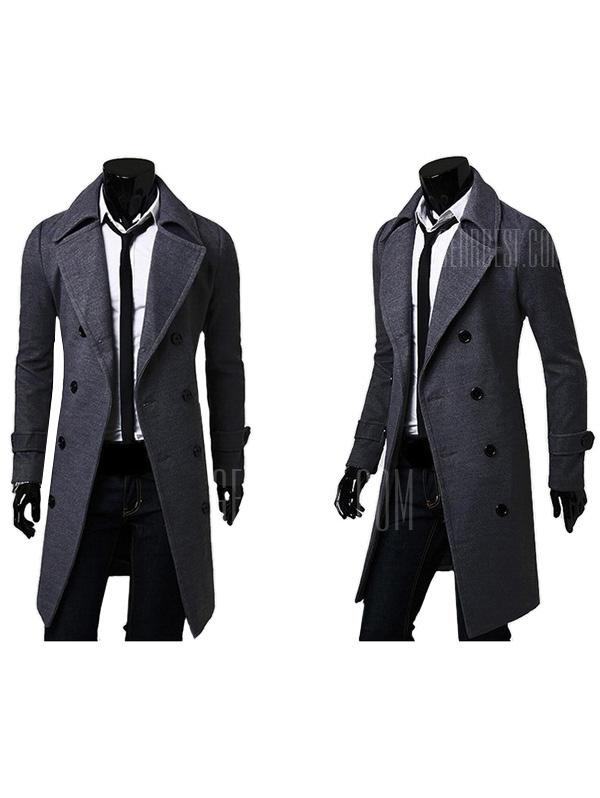 Men Turn-down Collar Long Woollen Wind Coat - GRAY WOLF 2XL from Gearbest Image