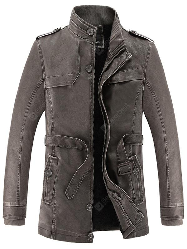 Gizonezkoen Winter Fashionable Stand Collar Long Pile Leather Jacket
