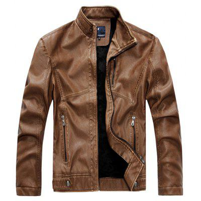 Men Stand Collar Plush Lining Leather Jacket