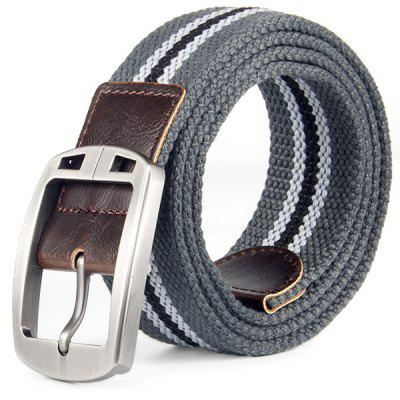 Leisure Braided Canvas Belt With Automatic Metal Buckle