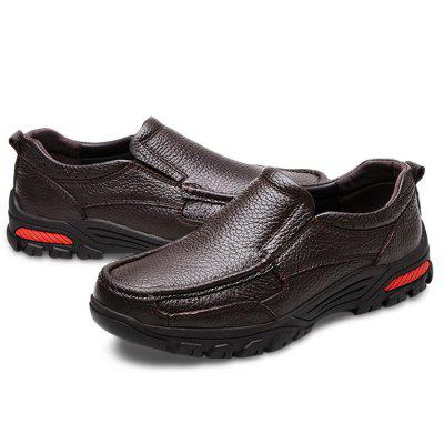 Homens Moda Soft Slip-on Shock-absorvente Couro Casual Shoes