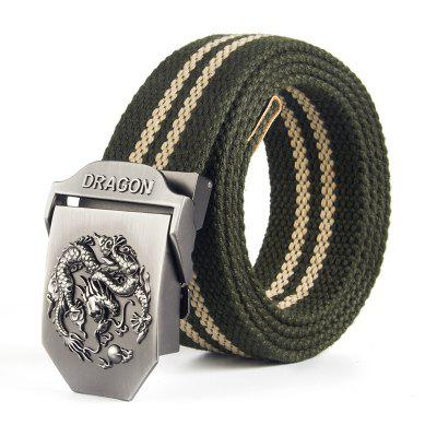 Men Classic Alloy Ratchet Stripe Weave Belt