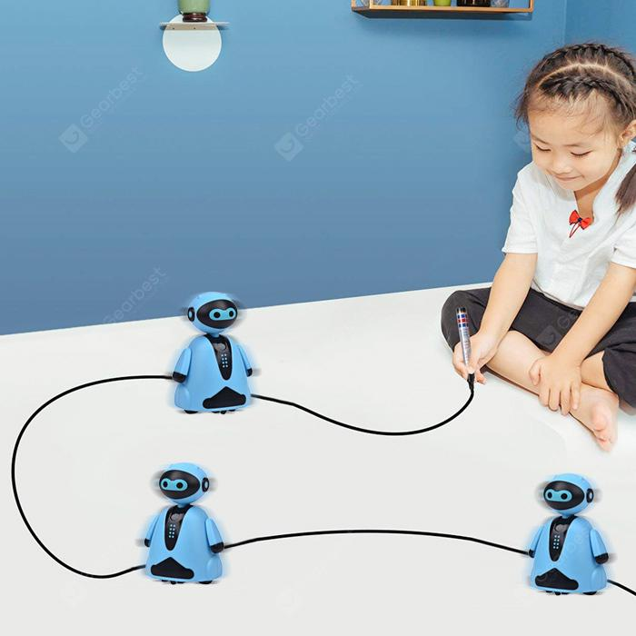 Kids Magic Auto-induction Robot Follow Drawn Line Toy - DAY SKY BLUE