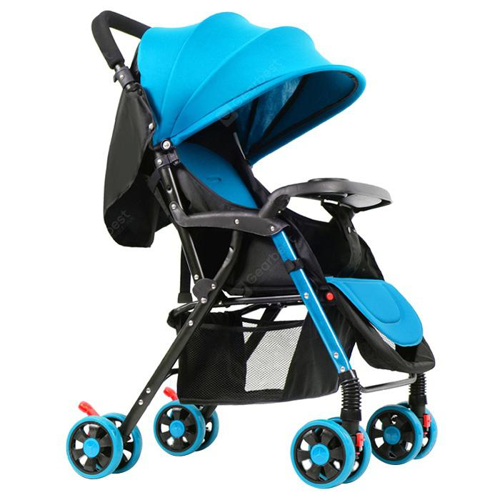 GIFT Lightweight Foldable Four-wheeled Baby Stroller - BUTTERFLY BLUE