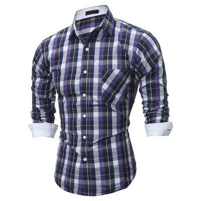 Checked Slim Long Sleeve T-shirt for Men