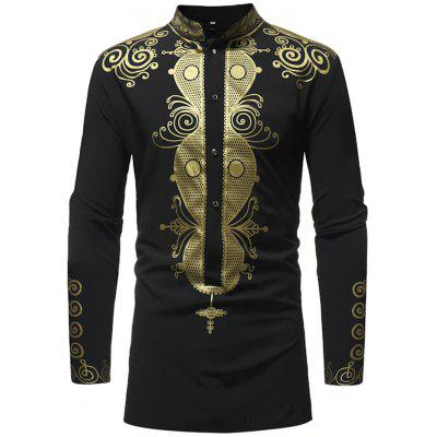 Stand Collar Print Long Sleeve Man Shirt