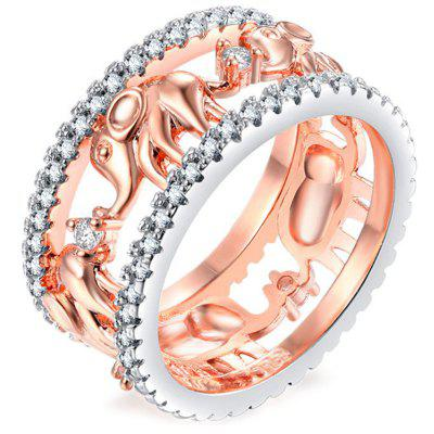 Stylish Zinc Alloy Hollow Crystal Ring