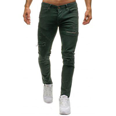 Модные мужчины Ripped Zipper Casual Jean