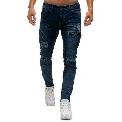 Fashionable Men Ripped Zipper Casual Jean