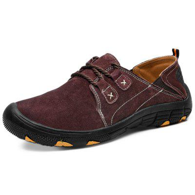 Men Flat Casual Stitching Leather Shoes