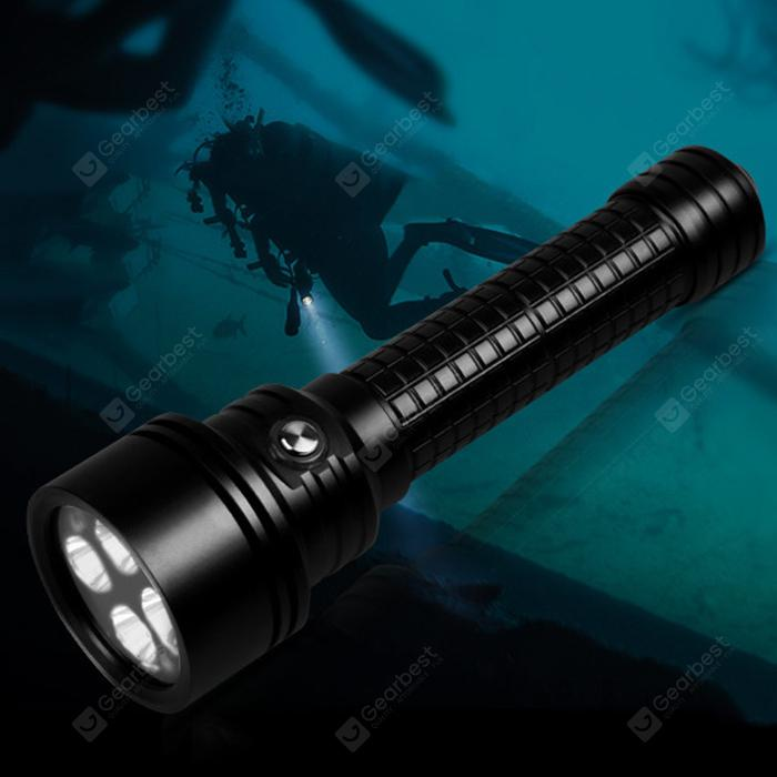 Brinyte DIV15S Portable 4-LED Diving Flashlight - BLACK