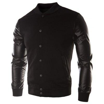 Casual Leather Sleeve Button Coat for Men