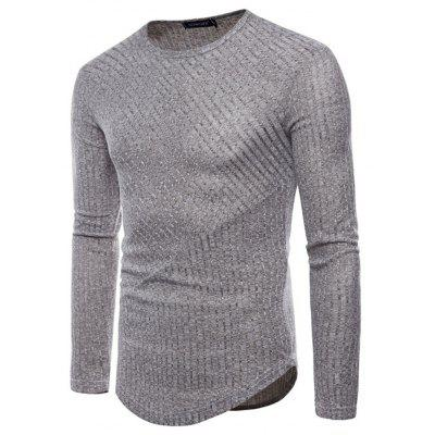 European Round Neck Long-sleeved T-Shirt european and american style slim round neck long sleeved pullover sweater bottoming brown grey