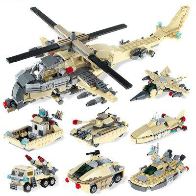 GUDI 8-in-1 Armed Helicopters Children Enlightenment Puzzle Block Toy
