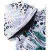 3D White Blue Ornament Style Hoodie for Man - BLACK