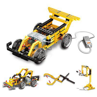 Wange 1401 Educational Learning Toys Kids DIY Set Toys Cars Plastic Model Kits Building Bricks Blocks For Boys 4 IN 1 With Motor-yellow loz micro blocks how to train your dragon diy building bricks night fury 3d auction figure micro blocks kids toys boys gifts