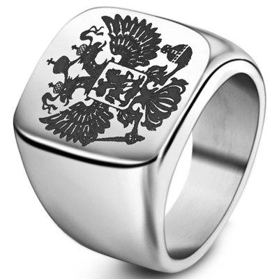 Stijlvolle dubbele kop Eagle Stainless Ring
