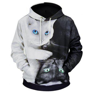 3D Two Cats Style Hoodie for Man
