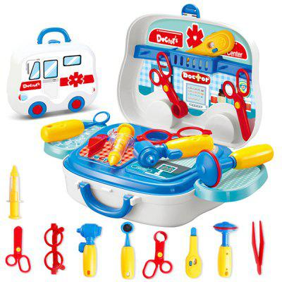 Kids Educational Simulation Doctor Suitcase Pretend Toy 13pcs goplus wood kitchen toy kids cooking pretend play set toddler wooden playset new ty322392