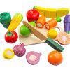 Kids Wooden Simulation Fruits  / Vegetables Pretend Play Toy Set - MULTI-A