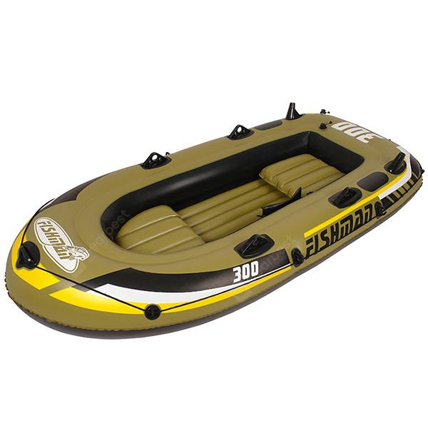 Outdoor Portable Inflatable Kayak 2 Persons Boat - COOKIE BROWN