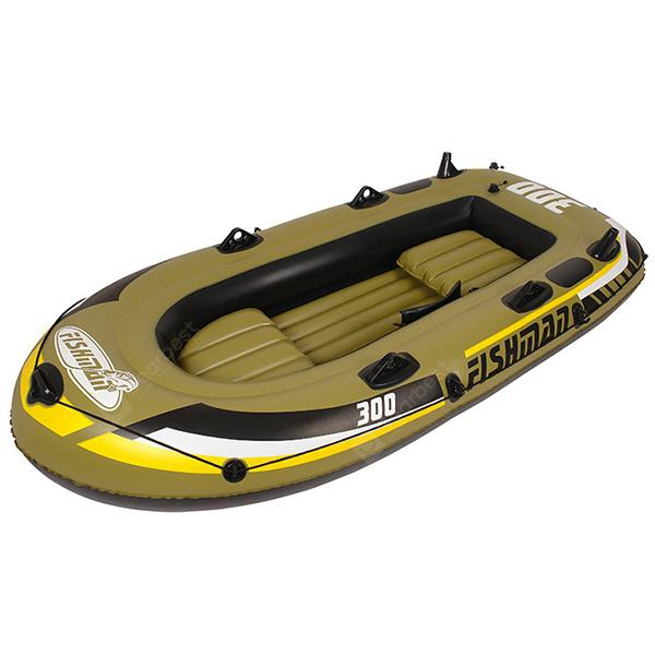 Outdoor Portable Inflatable Kayak 3 Persons Boat - COOKIE BROWN