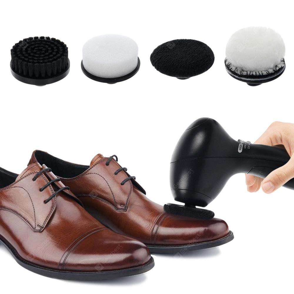 Electric Portable Shoes Polisher Cleaner with 4 Brush Heads - BLACK