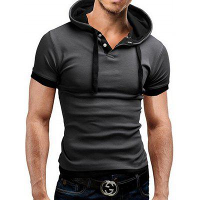 Summer Breathable Cotton Short Sleeve T-shirt with Hood