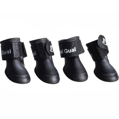Silicone Waterproof Anti-Slip Cute Pet Dog Puppy Rain Boots Shoes 4pcs