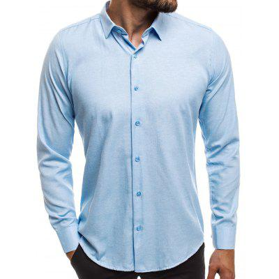 Autumn Solid Color Simple Long Sleeve Shirt for Man